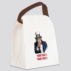[Your text] Uncle Sam 2 Canvas Lunch Bag